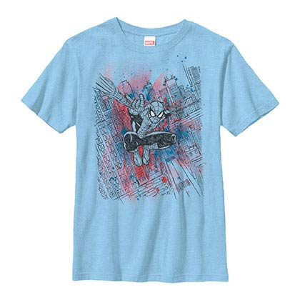 Spiderman Sketched Out Blue Youth T-Shirt