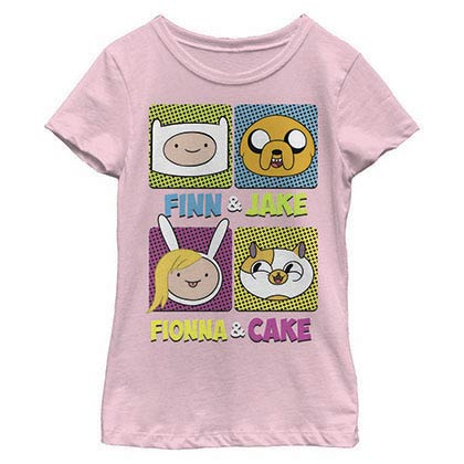 Adventure Time Finn Jake Fionna Cake Youth Girls Pink T-Shirt