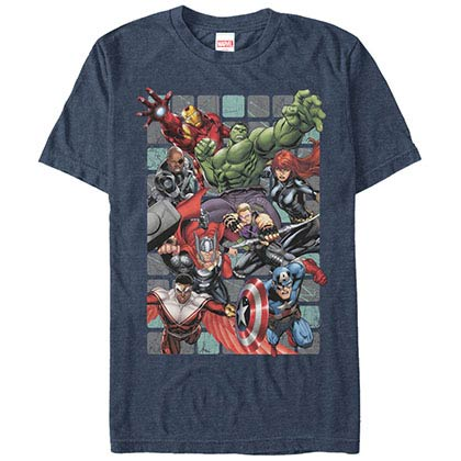 Avengers Assemble Squares Blue Mens T-Shirt