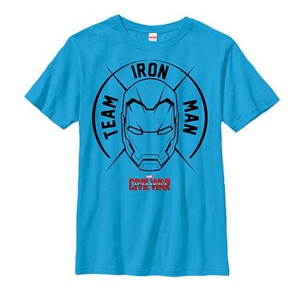 Iron Man Big Mask Blue Youth T-Shirt