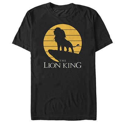 Disney Lion King Simba Rock Silhouette Black T-Shirt