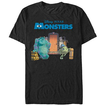 Disney Pixar Monsters Inc University Door Scene Black T-Shirt