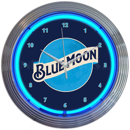 Blue Moon Neon Clock