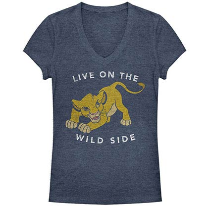 Disney Lion King Wild One Blue Juniors V Neck T-Shirt