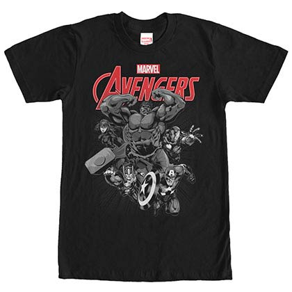 Avengers Monochrome Black Mens T-Shirt