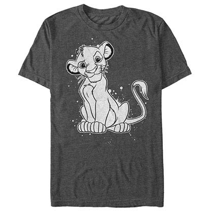 Disney Lion King Simba Splatter Gray T-Shirt