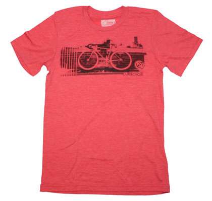 Curbside Clothing Curbcycle Black on Heather Red T-Shirt