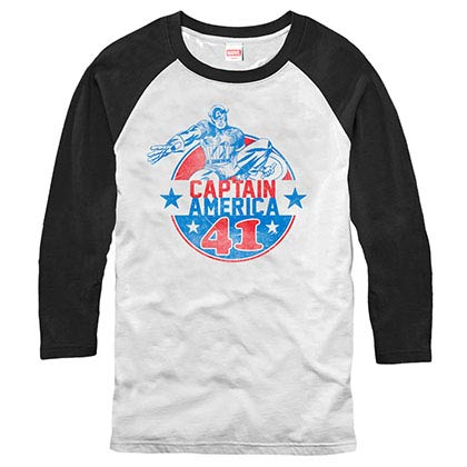 Captain America Captain Badge White Mens Baseball T-Shirt