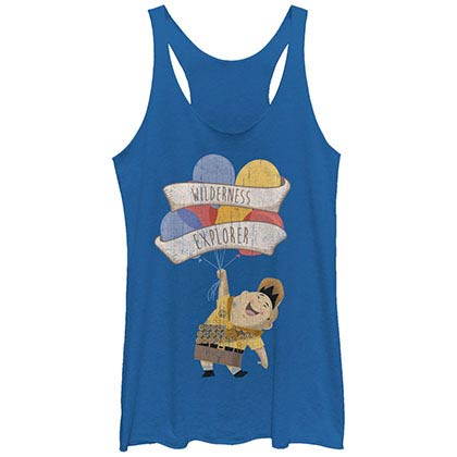 Disney Pixar Up Wilderness Explorer Blue Juniors Racerback Tank Top