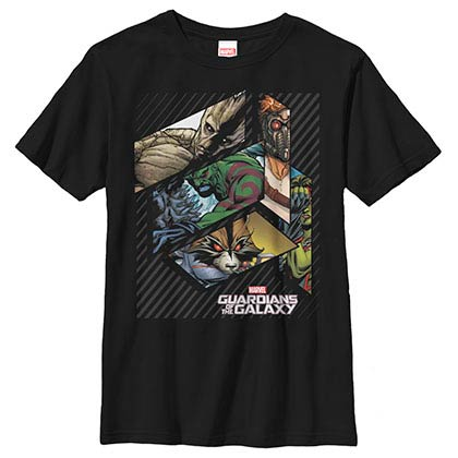 Guardians Of The Galaxy Geo Galaxy Black Youth T-Shirt
