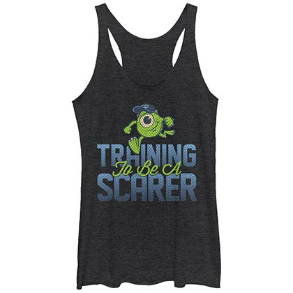 Disney Pixar Monsters Inc University Scarer In Training Black Juniors Racerback