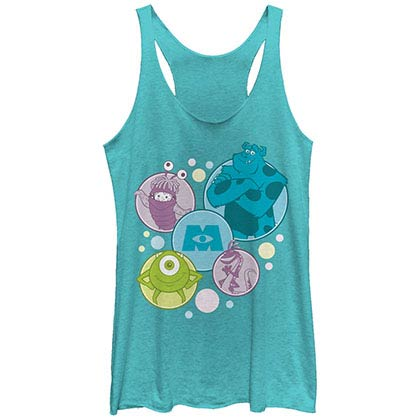 Disney Pixar Monsters Inc University Bubble Monsters Blue Juniors Racerback Tank