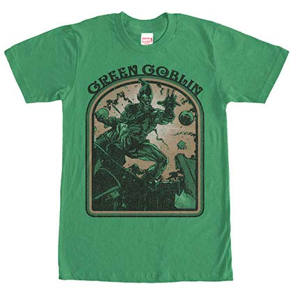 Spiderman Green Goblin Retro Green Mens T-Shirt