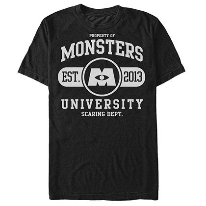 Disney Pixar Monsters Inc University Uni Black T-Shirt