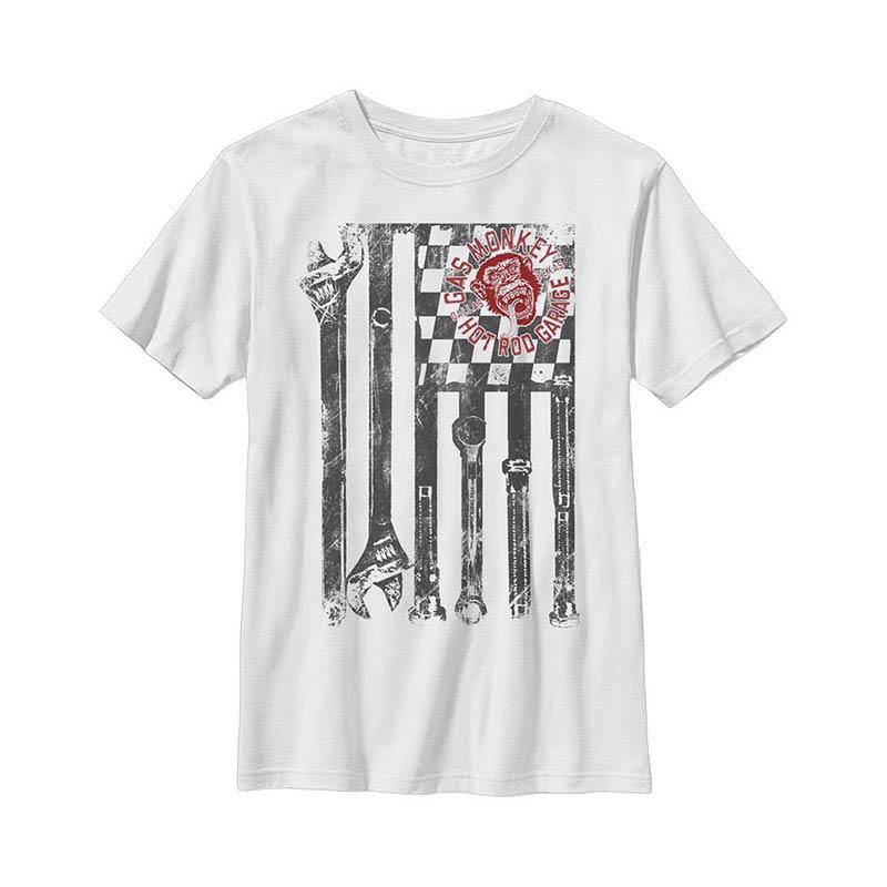 Gas Monkey Garage Wrench Flag White Youth T-Shirt