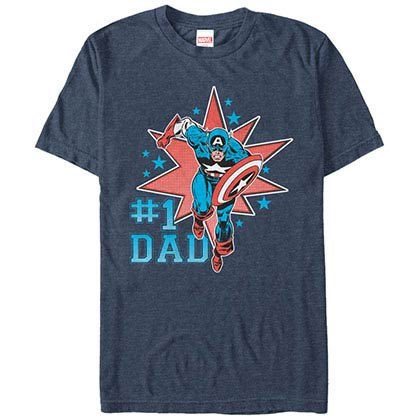 Captain America Number One Cap Blue Mens T-Shirt