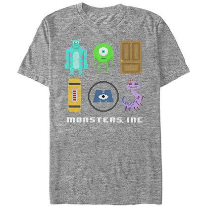Disney Pixar Monsters Inc University Pixel Squad Gray T-Shirt