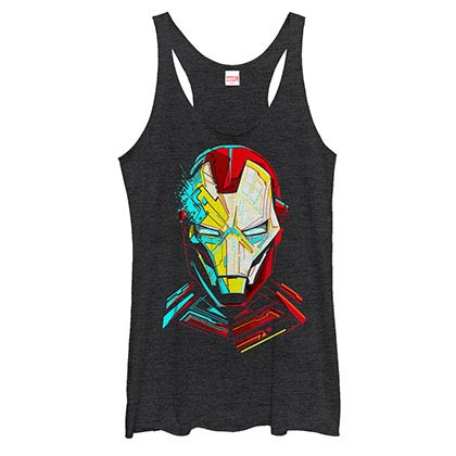 Iron Man Pierced Black Juniors Racerback Tank Top
