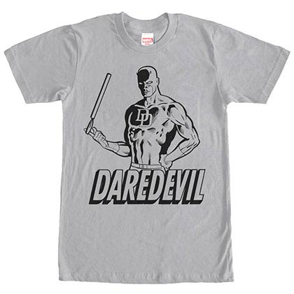 Daredevil Outline Gray Mens T-Shirt