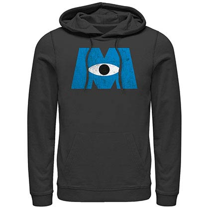 Disney Pixar Monsters Inc University Distressed Logo Black Lightweight Hoodie