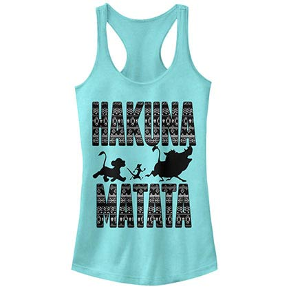 Disney Lion King Hakuna Print Blue Juniors Racerback Tank Top