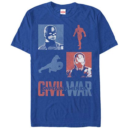 Captain America: Civil War The War Begins Blue Mens T-Shirt