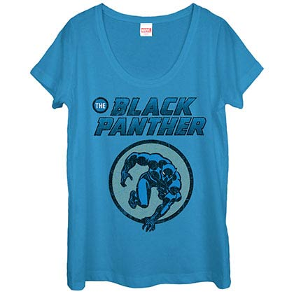 Black Panther Comic Blue Juniors T-Shirt