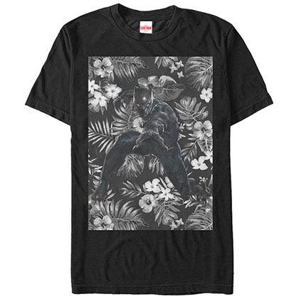 Black Panther Panther Floral Black Mens T-Shirt