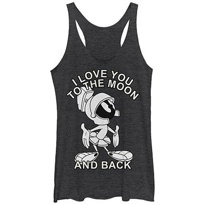 Looney Tunes Moon Martian Black Juniors Racerback Tank Top