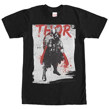 Thor In Grunge Black Mens T-Shirt
