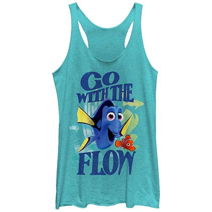 Disney Pixar Finding Dory Flow Blue Juniors Racerback Tank Top