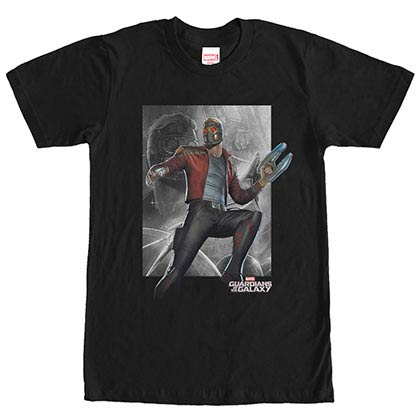 Guardians Of The Galaxy Star Direct Black Mens T-Shirt