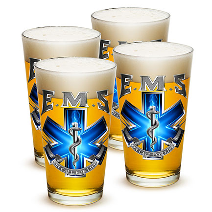 Set Of Four Emergency Medical Services On Call For Life Pint Glasses