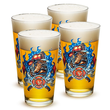 Firefighter First In Last Out Pint Glasses Set
