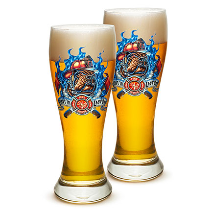 Pair of Firefighter First In Last Out Pilsner Drinking Glasses