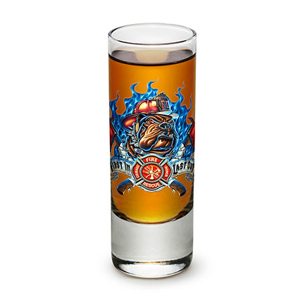 Firefighter Bulldog First In Last Out Shot Glass