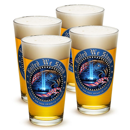 Four Pack United We Stand Patriotic Beer Pints