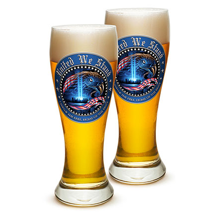Pair of United We Stand 9/11 Pilsner Drinking Glasses