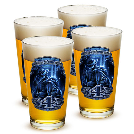 4-Pack Fallen Brothers Firefighter Pint Glasses