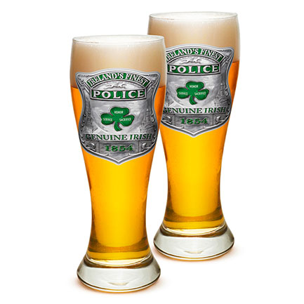 Ireland's Finest Police Pilsner Beer Glasses 2-Pack