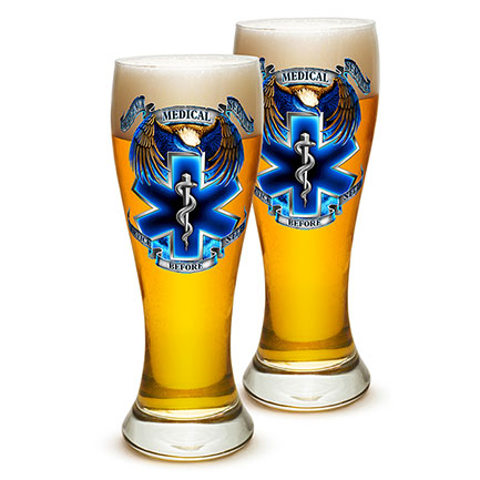 Pair of EMS Service Before Self Pilsner Beer Glasses