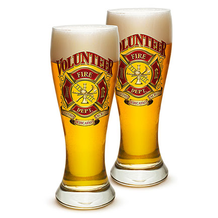Volunteer Firefighter Pilsner Beer Glasses