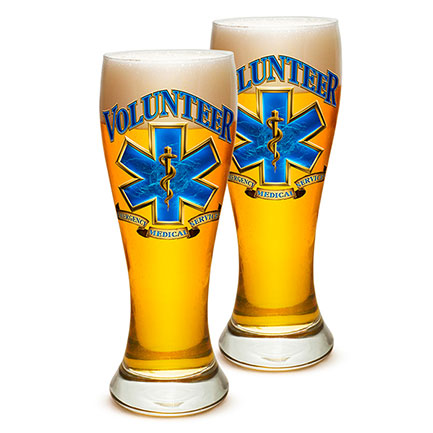 Pair of Volunteer EMS Pilsner Drinking Glasses