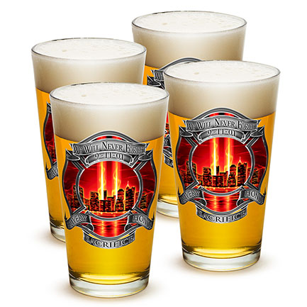 9/11 Firefighters Never Forget Pint Glass 4 Pack
