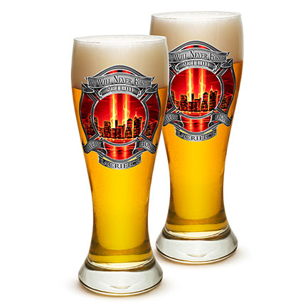 Firefighter 9/11 Tribute Pilsner Glasses 2-Pack