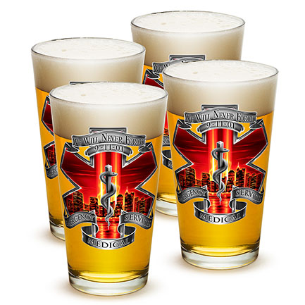 Never Forget 9/11 EMS 4 Pack Pint Glass