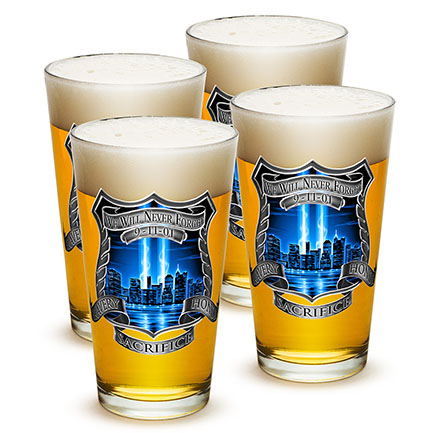9/11 NYPD Never Forget Pint Glass 4 Pack