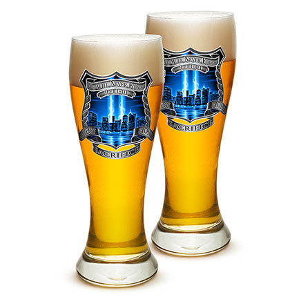 Pair of Police Never Forget 9/11 Pilsner Drinking Glasses