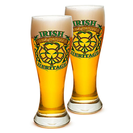 Irish Heritage Firefighter Pilsner Beer Glasses