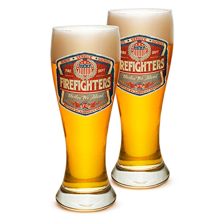 Firefighter Badge Pilsner Beer Glasses Set